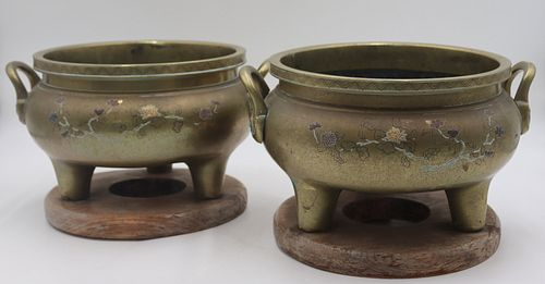 2 Brass Asian Footed Censors  On Stands.
