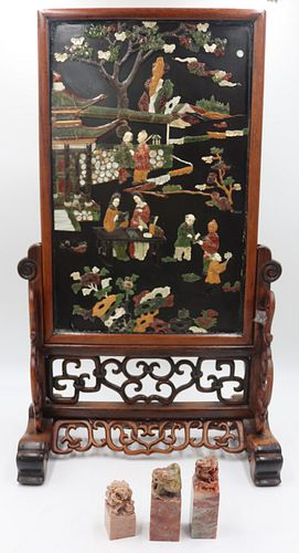 Chinese Hardstone Screen On Stand Together With