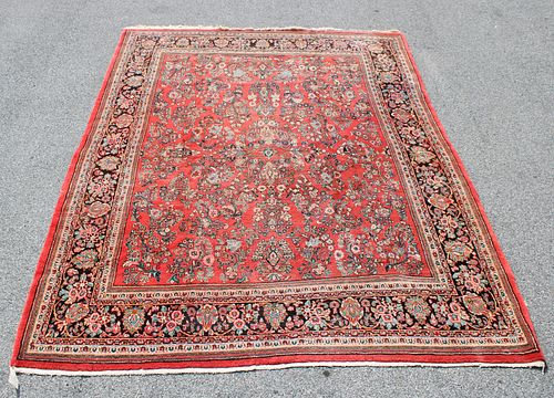 Vintage And Finely Hand Woven Sarouk Style Carpet