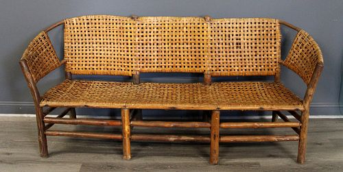 Adirondack Bentwood Settee with Woven Seat & Back