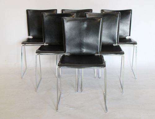 6 Vintage Leather And Chrome Chairs.