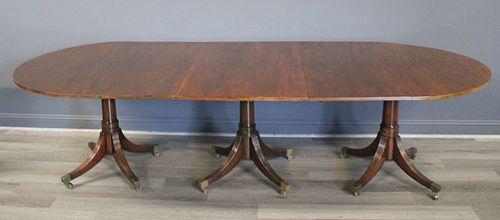 19th Century Mahogany Triple Pedestal Dining Table