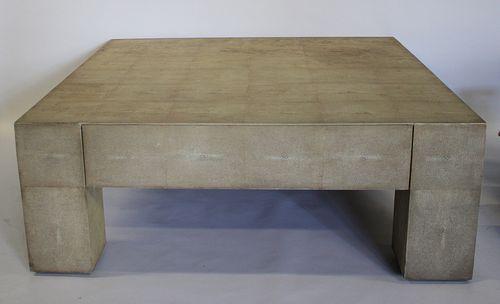 Large Vintage Shagren 1 Drawer Coffee Table .