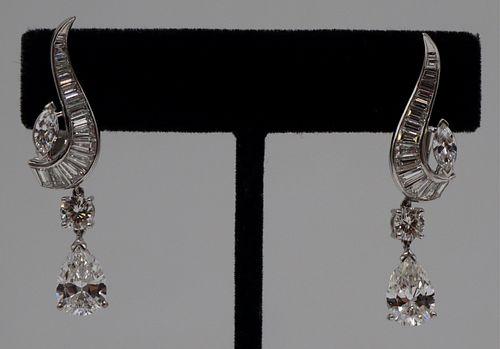 JEWELRY. Pair of GIA Pear-Shaped Diamond Earrings.