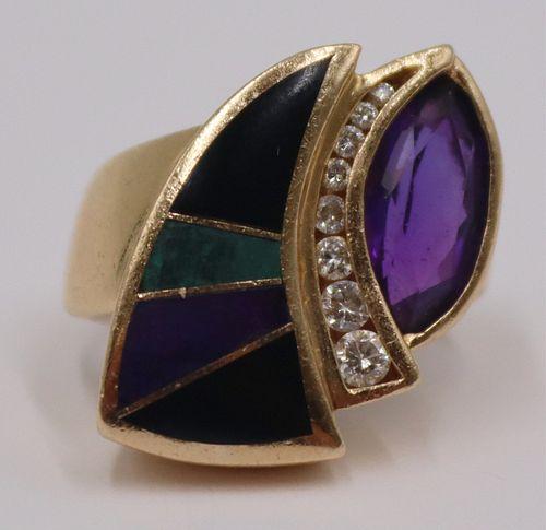 JEWELRY. B&H 14kt Gold Amethyst Diamond and Inlaid