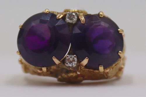 JEWELRY. 18kt Gold, Amethyst, and Diamond Ring.