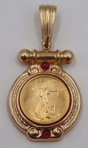 JEWELRY. 14kt Gold, Colored Gem and Coin Pendant.