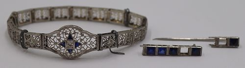 JEWELRY. Art Deco Platinum and 14kt Gold Bracelet.