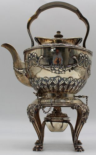 SILVER. English Silver Kettle on Stand with