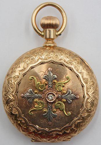 JEWELRY. Lady's Waltham 14kt Gold Full Hunter Case
