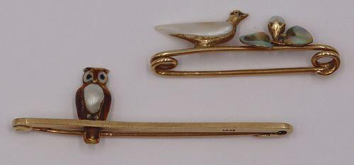 JEWELRY. (2) Antique English Gold Bird Bar Pins.