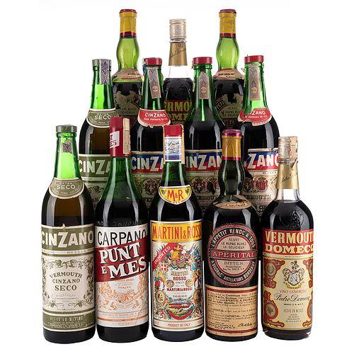 Lote de Vermouth de México, Italia y Francia. Cinzano. Aperital. En presentaciones de 750 ml. y 970 ml. Total de Piezas: 12.
