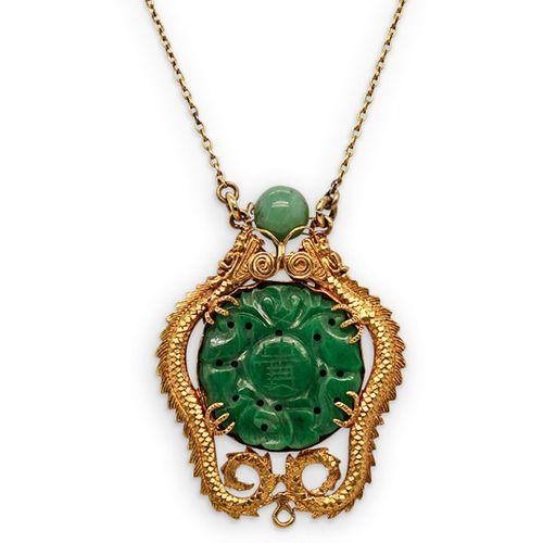22K Chinese Gold Jadeite Dragon Pendant Necklace