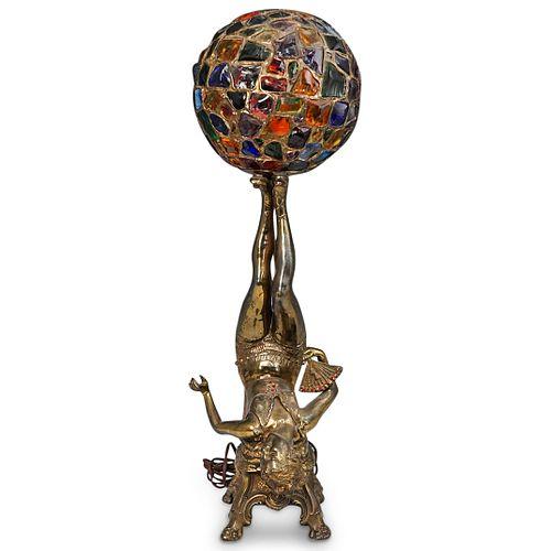 "German Art Deco ""Lady with Globe"" Bronze Table Lamp"