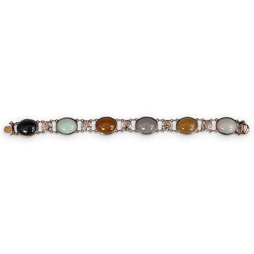 14K Gold Jadeite Multi Colored Bracelet