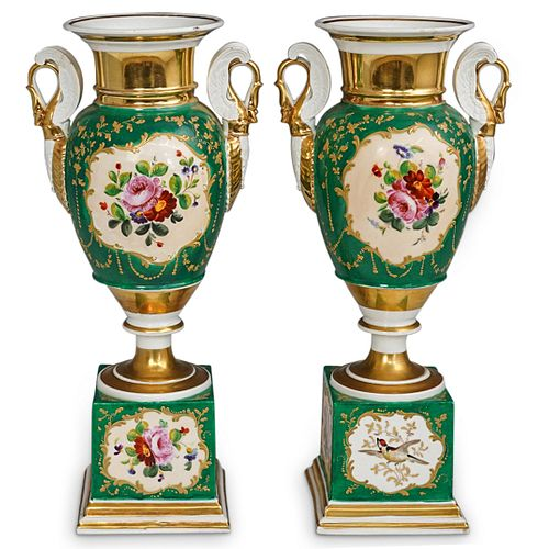 (2 Pc) Pair Of Old Paris Urn Vases