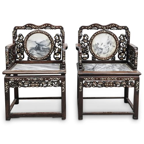 (2 Pc) Chinese Marble Splat & Seat Armchairs