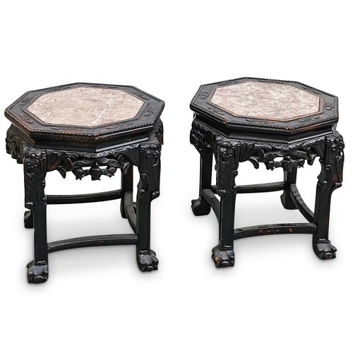 Pair of Chinese Carved Pedestals
