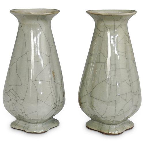 (2 Pc) Chinese Celadon Crackle Glaze Vases