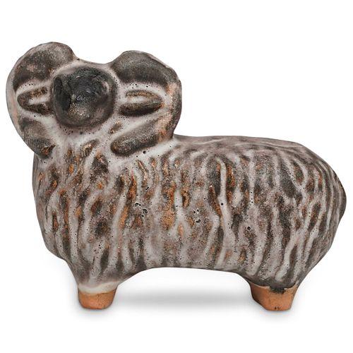 Raku Fired Ceramic Ram
