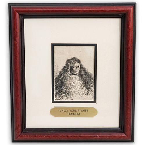 """Rembrandt """"Great Jewish Bride"""" Etching"""