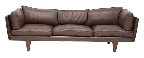 A leather and rosewood 'Model V11' sofa, §