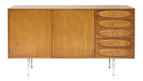 A teak and burrwood sideboard,