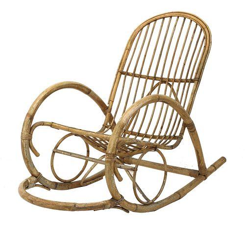 A Dutch bamboo and rattan rocking chair,
