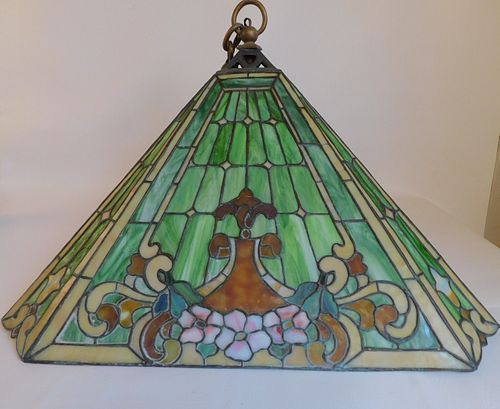ANTIQUE DUFFNER & KIMBERLY LEADED GLASS HANGING SHADE