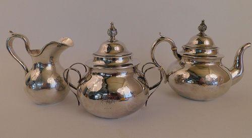 BOSTON COIN SILVER TEA SET
