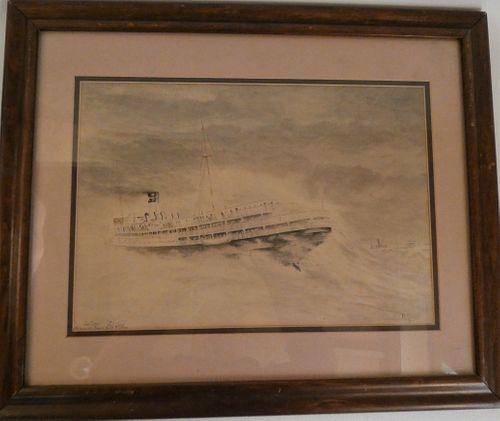 PH PERRY '35 SHIP AGROUND PAINTING