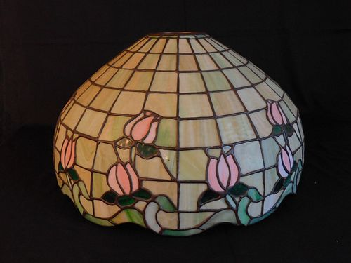 OLD LEADED GLASS HANGING LAMP