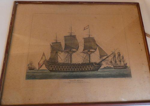 1794 FRENCH SHIP BATTLE PRINT