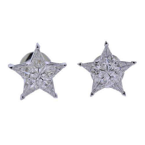 IGI Certified 14K Gold 1.26ctw Diamond Star Stud Earrings