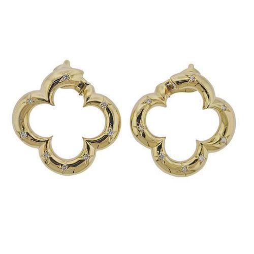 Van Cleef & Arpels Alhambra 18k Gold Diamond Earrings