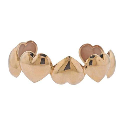 18k Gold Heart Cuff Bracelet