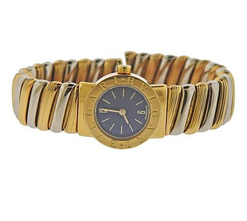 Bvlgari Bulgari Tubogas 18k Gold Watch Bracelet BB192T