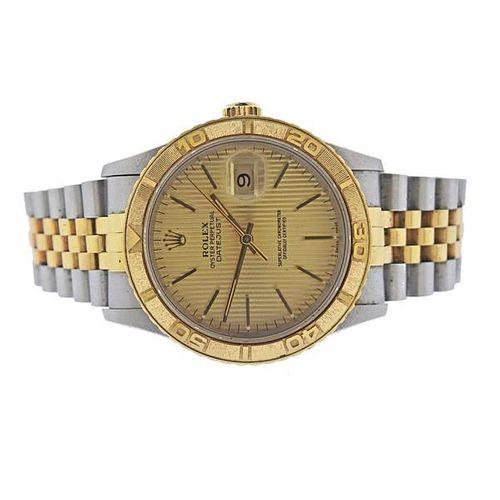 Rolex Thunderbird 18k Gold Steel Tapestry Dial Watch 16263