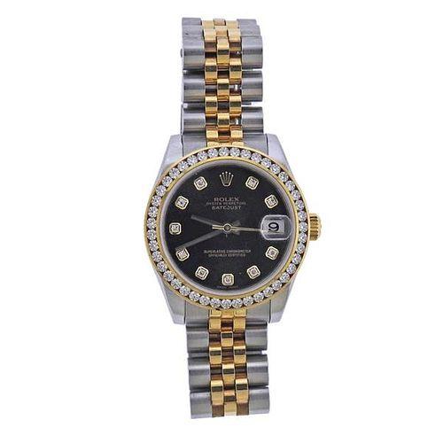 Rolex Midsize Datejust 18k Gold Steel Diamond Watch 178273
