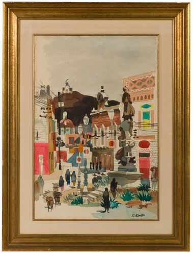 Dong Kingman (American, 1911-2000) 'Guanajuato, Mexico' Watercolor