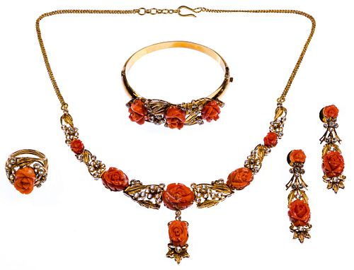 20k Gold, Carved Coral and White Sapphire Jewelry Parure Suite