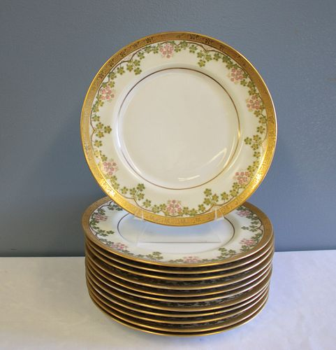 Lot Of 12 Limoges Floral & Gilt Decorated Plates