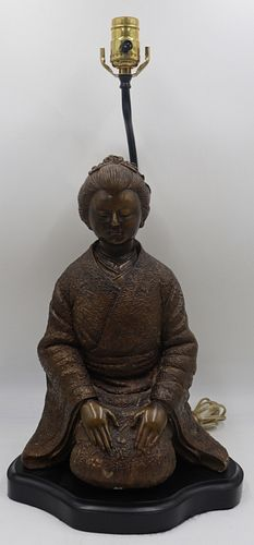 Asian Bronze Lamp of a Kneeling Geisha.