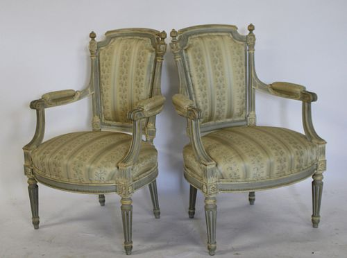 Pair Of Vintage Louis XV1 Style Arm Chairs.