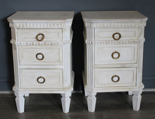 A Vintage Pair Of Swedish Style White Painted