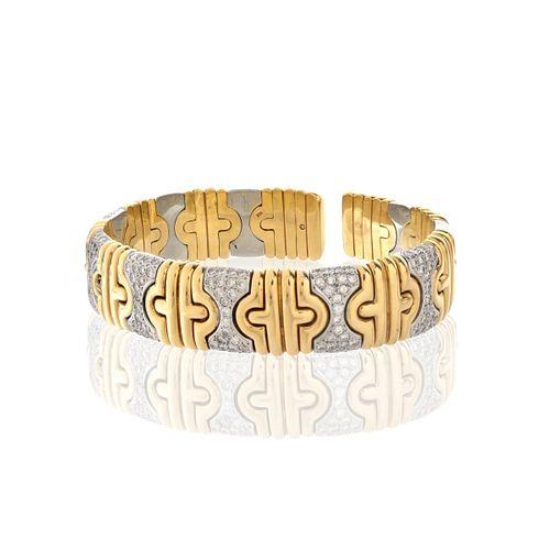 Diamond and 18K Cuff Bangle Bracelet