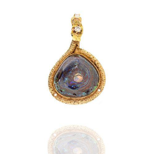 Opal, Diamond and 14K Pendant
