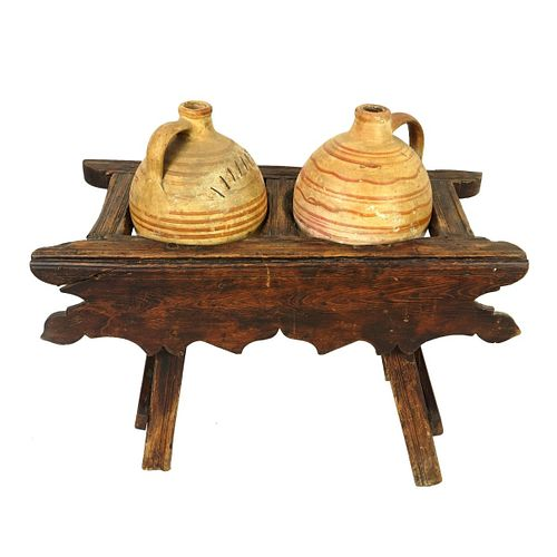 Antique Jugs on Wooden Stand