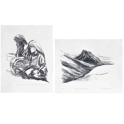 ERIC SCHWARZ, a) Resignación y esperanza b) Hacia el mar muerto, Frimadas, Serigrafías 40/125 y 26/125, 50 x 65 y 61 x 60 cm, piezas: 2 | ERIC SCHWARZ
