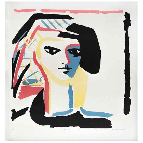 "ALFREDO ZALCE, Cabeza, 1968, Firmada Serigrafía 27 / 220, 46 x 46 cm | ALFREDO ZALCE, Cabeza, 1968, Signed, Serigraph 27 / 220, 18.1 x 18.1"" (46 x 46"